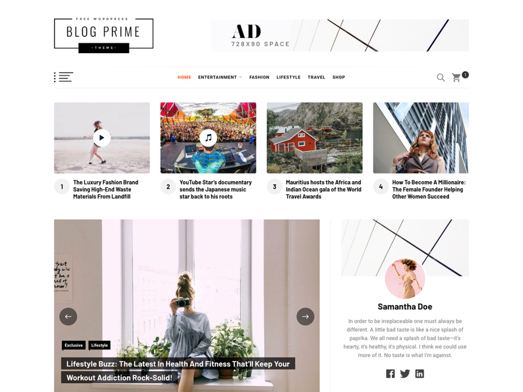 Blog Prime Free Minimal WordPress Blog Theme